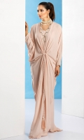 Grip silk kaftaan style gown in blush pink with pearl and diamonte' worked sleeves and tassel detailing