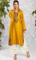 Amber yellow cotton net kaftan style shirt with embroidery and velvet detailing