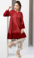 Maroon Red cotton net flared shirt with patchwork embroidery and velvet accents