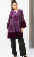 Purple cotton net flared shirt with patchwork embroidery and velvet accents