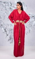 Ruby red, raw silk kaftaan with gold handwoven belt and tassle detail