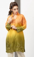 Shaded raw silk kurta in hues of orange and green with cut-work embroidery detail