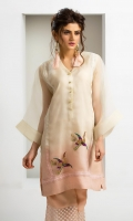 Shaded organza kurta in an off-white and pink colour with crochet lace detailing and sequined bird motif embellishment, accompanied by pink silk wide leg pants with embroidered organza panelling