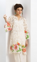 Off-white lace kurta with floral patchwork embroidery in shades of rust in a bell sleeve design accompanied by off-white silk wide leg pants with pearl