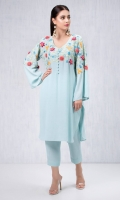 Sky blue grip silk shirt with embroidered yolk and sleevs and 3D crochet embellishment. Accompanied by sky blue capris style pants in grip silk