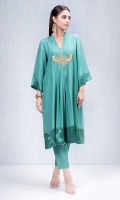 Jade green pleated shirt in a flared design with gold embroidered motifs and silk shamoise edging on sleeve and hem . Accompanied by Jade green capris style pants in grip silk