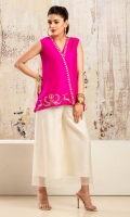 Fuschia pink sleeveless wrap front raw silk shirt with gold and silver embroidery