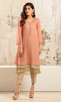 Tri- layered chiffon shirt in shades of peach,beige & green in a flared hem design with diamonte button detailing. Accompanied by beige grip silk capris pants
