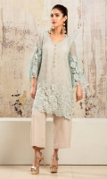 Ice blue and beige lace net shirt with handworked gota motifs at hem and a flared sleeve design. Accompanied by beige grip silk capris pants