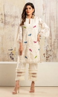 Off-white lace net shirt with embroidered bird motifs and hand worked pearl embelishment