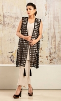 Black net sleeveless coat with large tassle detailing accompanied by beige grip silk inner shirt and wide-leg pants