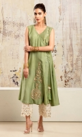 Pea green cotton net angharka style sleeveless shirt with gold & silver embroidered and hand worked gota motifs and tassle detail