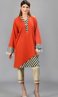 Front Pleated Dobby knee length shirt with embroidered daman and sleeves