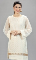 Off white jacquard paneled shirt with organza sleeves. Gota lace at the bottom with pleated organza details