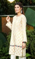 Off white Jacquard front open shirt with adda work on damaan
