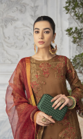 Embroidered Organza Front 0.66 yard Embroidered Organza Back 1 yard Embroidered Organza Sleeves 0.66 yard Plain Organza Panel 0.33 Yard Masoori Khaddi Net Dupata 2.75 Yards Embroidered Organza Front & Back Border 2 yards Jamawar Trouser 2.50 yards