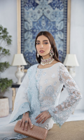 Embroidered Chiffon Front 0.66 yard Embroidered Chiffon Back 1 yard Plain Chiffon Panel 0.33 yard Embroidered Chiffon Sleeves 0.66 yard Embroidered Sleeves Patti 1.25 Yards Embroidered Bareeze Net dupatta 2.50 yards Embroidered dupatta 4 Side Border 8.50 Yards Embroidered Self Grip Trouser 2.50 yards