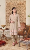 Our beige paneled kurta featured with hand crafted vibrant peacock buttons and fine self thread, sheesh work along the panel. The vibrant floral pattern  rendered on the border and embroidered stitches create an exquisite statement. Style it with a skinny shalwar as shown.