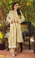 This lemon yellow elegant kurta features pleats and block print all over the kurta and along side panels on the front and back with hand crafted buttons and is finished with a gold kiran gota trimming. It is a timeless style, that will never go outdated. It can be paired with our white creative pants and a pure Chinese silk block printed dupatta to elevate the day time feel.