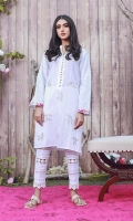 This white casual kurta would look lovely to all brunches/ lunches. It is artfully detailed with outlines of pelican birds and multi thread work on pockets and sleeves to create a chic statement. Style yours with matching pleated pants for a more charming look.