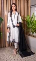 The ultimate versatile staple is a loose long cut, featuring laces, embroidered motifs on the damaan, sleeves, delicate pearls on the neckline, and is further enhanced by sheeshe embroidery bootis on the kurta. Style yours with our matching lacy pants and a gorgeous black dupatta adorned with laces perfect for intimate eid/ramzan gatherings.