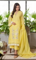 The striking shade of yellow, cut from resham cotton net, incorporated with light-colored pearls and diamontes on the neckline. The shirt is further enhanced with laces, pleats, and off-white embroidered accents to set a dreamy mood. This shirt is paired with matching raw silk culottes featuring laces and a cotton net dupatta with self-laces that completes the look.