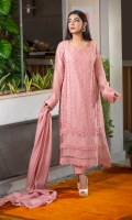 This serene pink kurta features laces all over, pleated organza inserts on the borders, and is further embellished with pearls and diamontes. You can pair it with a matching lacy dupatta and scalloped pants for any manner of occasion.