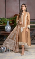 This gold kurta is a long kali kurta adorned with off-white resham, mirror embroidery on the neckline and sleeves, embroidered border finished with lace. It can be paired with a classic block printed dupatta enhanced with danglings and pleated pants, this outfit is an epitome of elegance and grace.