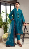 This graceful kurta adorned with blue and gold thread embroidery alongside the panels, features stitches on the neck along with sheesh buttons and handcrafted resham tassels to give the kurta the right amount of elegance. It is paired with straight pants and a pure organza dupatta with enticing textures of a contrasting block printed border for the festive season of eid.