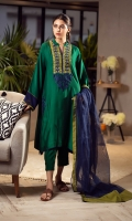 Our emerald green finely tailored kali kurta is crafted from Khaddi silk and is adorned with embroideries of contrasting hues along with hints of sheesh embroidery. You can pair it with our blue cotton net dupatta featured with olive edgings and straight pants with pintex to complete the look.