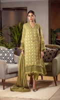 The traditional olive kurta is perfect to make your eid exotic this season with its light-colored crystal danglings and a handworked neckline. The sleeves and border have organza inserts with pleats and are finished with danglings. It is paired with a matching raw silk scalloped shalwar and a matching cotton net dupatta enhanced with laces.
