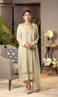 This light mint kurta is enhanced with mukesh work and organza inserts. It is paired with matching raw silk pants and a mukesh work dupatta for that complete look.