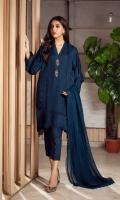 The stunning teal blue shaded kurta is what you need for this festive eid season, cut from pure organza front, and a khaddi silk back, sleeves adorned with laces. You can pair it with straight pants and a matching chiffon lacy dupatta to keep it easy for eid evenings.