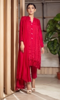 The cranberry organza kurta features lace details incorporated with handcrafted pearls and crystal buttons on the neckline, the back and sleeves are composed of khaddi silk and paired with straight pants, and a chiffon lacy dupatta, perfect for the festive eid evenings.