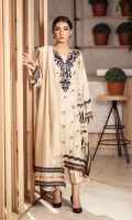 The beige kurta is enhanced with embroidered motifs all over the kurta and is finished with beige tassels. The kurta is paired with matching raw silk pants and a beige dupatta with black laces that completes the look.