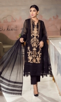 This black kurta featuring beige and self embroidery, incorporated with self laces on the daman, sleeves and neckline, is paired with matching raw silk pants and a dupatta with self laces that completes the look.