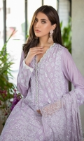 This pastel lilac block-printed kurta incorporates hand-crafted pearls and diamontes on the neckline and the kurta is further enhanced with a cutwork border. Pair this kurta with our matching Lilac pants featured with laces and a lilac block printed dupatta perfect for eid lunches.