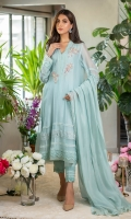 A pretty sky blue kurta uplifted by light pearl work on the neckline enhanced with delicate floral motifs in shades of light pink and powder blue embellishments with pearls and diamontes, this is further enhanced with laces on the border and sleeves. You can pair it with our matching raw silk culottes and a cotton net dupatta with self laces and pleats for a more classic look.