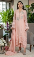 A forever flattering kurta in a lovely light pink hue is embellished with floral motifs along the neckline and delicate laces on the borders and sleeves.  Pair it with our light pink lacy culottes and a matching dupatta finished with lace trimmings to keep it easy for all eid soirees.