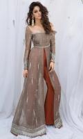 Dress : Organza  Pants : Raw silk  Dupatta : Organza (Optional)