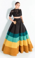 A two piece ensemble made in silk fabric skirt flowing with colorful waves, paired with a black embellished organza choli.