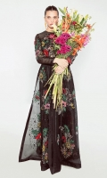 An all black organza conundrum printed with floral patches of red, pink, yellow and green. Paired with a pair of long and sleek bell bottoms.