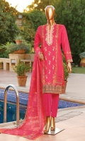 Lawn Digital Printed Embroidered Shirt Embroidered Chiffon Dupatta Dyed Cambric Trouser.