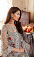 Embroidered chiffon for front right & left panels  Embroidered organza for front neck patch  Embroidered organza for front center & sleeves  Embroidered chiffon for back  Embroidered organza border for front & back  Embroidered chiffon for sleeves  Embroidered chiffon for dupatta  Jacquard fabric for trousers