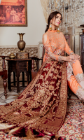 Embroidered chiffon for front  Embroidered organza border for front & sleeves  Embroidered chiffon for back  Embroidered organza border for back  Embroidered chiffon for sleeves  Dyed jamawar for dupatta  Raw silk for trousers  Embroidered organza border for trousers