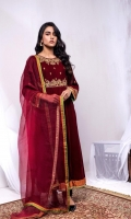 Fabric: Embroidered Velvet Paneled Flared Shirt, Velvet Pant, Organza Dupatta.
