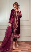 Fabric: Embroidered Velvet Shirt, Velvet Trouser, Organza Dupatta.