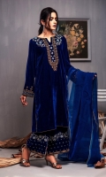 Fabric: Embroidered velvet shirt, Embroidered velvet trouser, Organza dupatta.