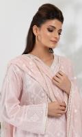 Chikankari Tilla Embroidered Front (Pima Cotton) Chikankari Tilla Embroidered Sleeve (Pima Cotton) Chikankari Tilla Embroidered Back (Pima Cotton) Dyed Trouser (Pima Cotton) Embroidered Dupatta (100% Pure Chinese Chiffon)