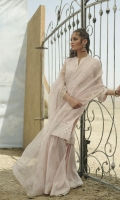 Gota Embroidered Front (Pure Organza)  Gota Embroidered Sleeve (Pure Organza)  Gota Embroidered Daaman Border (Pure Organza)  Gota Embroidered Sleeve Border (Pure Organza)  Dyed Back (Pure Organza)  Gota Embroidered Dupatta (Pure Organza)  Embroidered Dupatta Border (Pure Organza)  Dyed Shalwar (Pure Raw Silk)  Dyed Inner Shirt